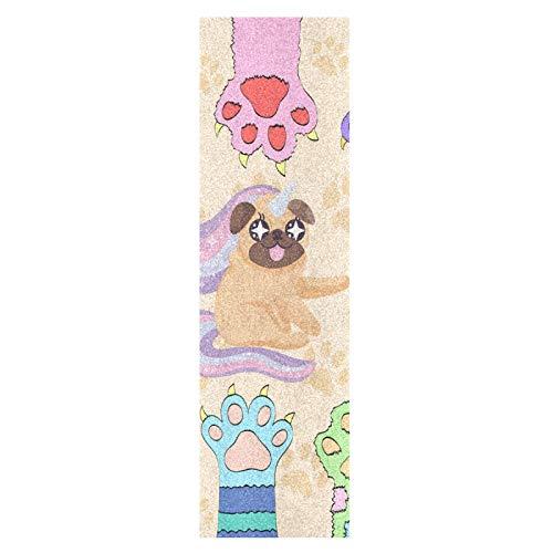 Lindo Perro Pug Bebé Arcoíris Monopatín Papel de Lija Antideslizante Hoja Cinta de Agarre Lijas para Patineta Scooter Etiquetas engomadas (84 x 23 cm)