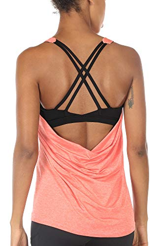 icyzone Damen Sport Yoga Top mit BH - 2 in 1 Fitness Shirt Cross Back BH Training Tanktop (L, Peach)