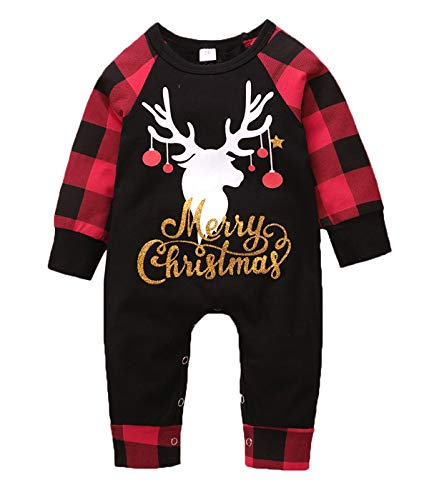 Merry Christmas Baby Outfit Reindeer Print Long Sleeve Plaid Romper Jumpsuit Xmas Clothes (Black&Red, 0-3 Months)