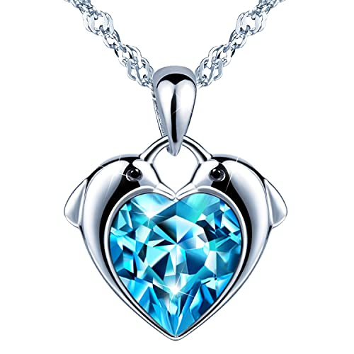 Unendlich U Delfine Damen Herzkette Mädchen Halskette 925 Sterling Silber Blau Zirkonia Anhänger Kette mit Anhänger, Silber