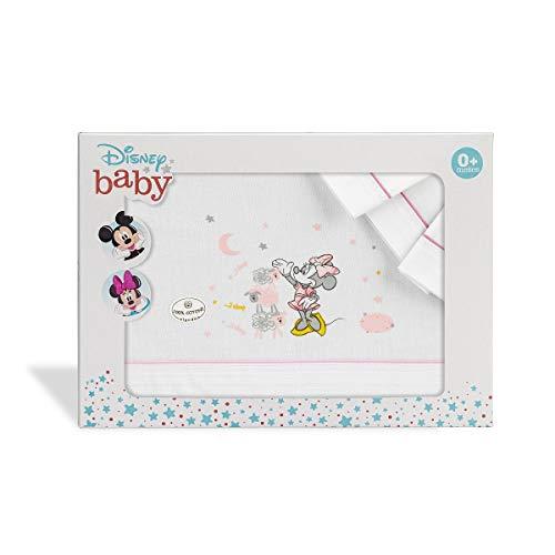 Interbaby MN003-12 Sábanas Cuna Disney Minnie Mouse Blanco y Rosa