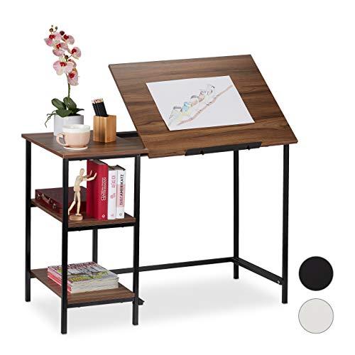 Relaxdays Schreibtisch neigbar, 3 Ablagen, mehrere Winkel, Computer- & Arbeitstisch, HBT 75x110x55 cm, Holzoptik/Schwarz