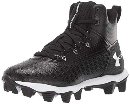 Under Armour Boy's Hammer Mid RM Jr. Football Shoe, Black (001)/White, 5 M US Big Kid