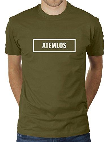 Atemlos Boxed - Herren T-Shirt von KaterLikoli, Gr. XL, Olive