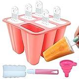 Moldes para Helados, DIY Popsicle Mold, Helado con Juego de Moldes 6 Pack con Embudo y Cepillo, Hacer Helados Caseros para, Niño y Adultos (Rosa)