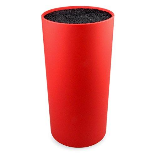 YOUZiNGS Design Messerblock universal mit Borsteneinsatz aus Kunststoff, unbestückt, Block für Messer 22,5cm Höhe, Farbe rot, Marke