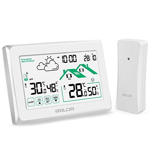 Osaloe Stazione Meteo Wireless, Termometro Digitale Igrometro con Grande Schermo LCD per Interni ed Esterni, Temperatura e umidità, Previsioni Meteo, Sensore Remoto per Ufficio, Casa (Bianco)