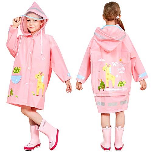 Kids Rain Coat Poncho Hooded Boys Girls Reusable Rainwear Reflective Stripes Rainproof Jacket