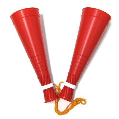 [プロモ] スリム ツイン メガホン (赤色) 30cm [野球 サッカー スポーツ 応援 グッズ] 体育祭 イベント