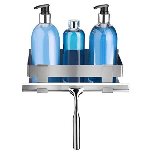 LIEBHEIM Duschablage Duschkorb Badregal rostfreier Edelstahl gebürstet ohne Bohren mit zwei Klebevarianten garantiert Bombenhalt