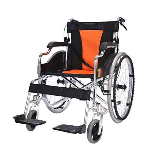 Kai Xin Bao Bao XF Rollstuhl, Aluminiumlegierung, Faltbarer, Leichter, Fahrender, medizinischer Transportstuhl, geeignet for Menschen mit Behinderungen, Sitzbreite 46 cm Sessel (Color : Orange)