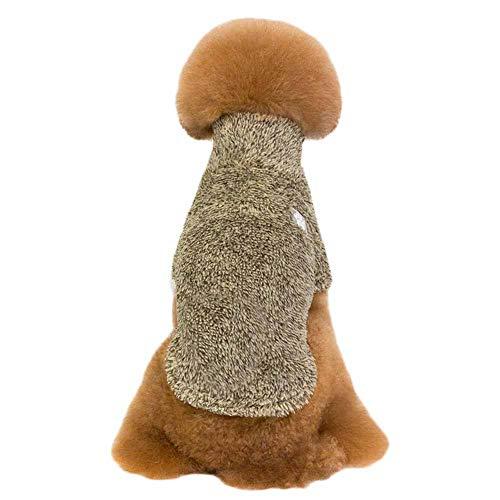 Koraal fluweel sweater voor kleine middelgrote honden hoge kraag pullover puppy vasten effen hondenmantel herfst winter shirt warme kleding huisdier pulli gebreide pullover dog, Medium, geel-bruin