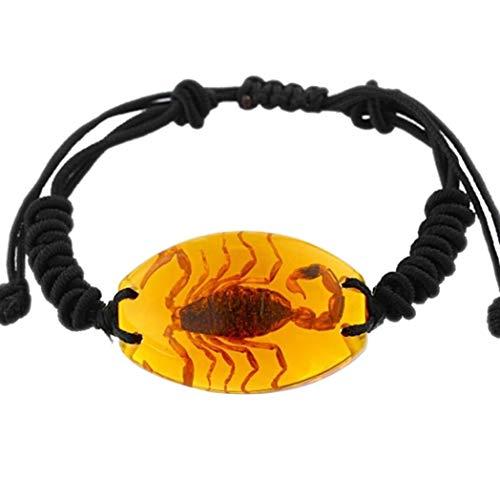 beautijiam Damen-Armband, Kunstharz, Bernstein, handgefertigt, geflochtener Armreif gelb