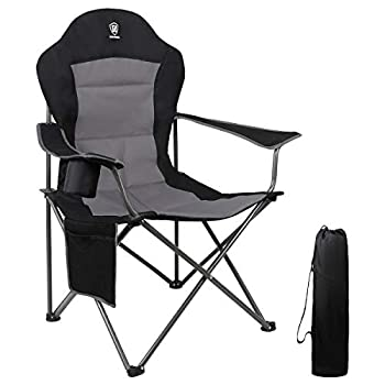 EVER ADVANCED Oversized Padded Quad Arm Chair Collapsible Steel Frame High Back Folding Camp Chair with Cup Holder Heavy Duty Supports 300 lbs