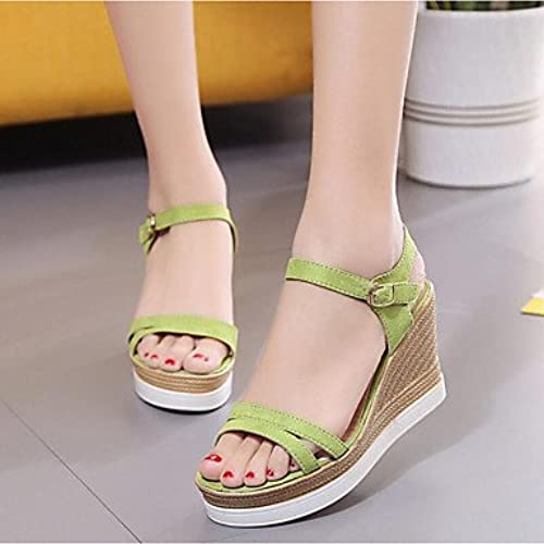 RUGAI-UE Mode d'été Occasionnels Chaussures Femmes Sandales PU Confort Talons,noir,35
