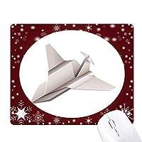 折り紙の幾何学的パターンの抽象的な航空機 オフィス用雪ゴムマウスパッド