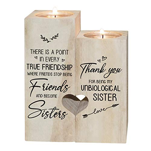 to My Bestie Candle Holder- Thank You for Being My Unbiological Sister Women Female Girl Friends Personalized Custom Friendship Birthday Gift Wooden Candle Holder