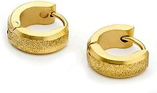 اقراط عصرية من التيتانيوم المطلي بالذهب للرجال بتصميم مرصع كوري
