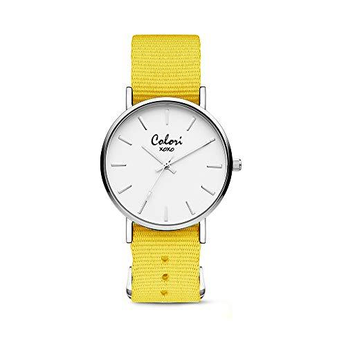 Colori XOXO 5-COL551 - Horloge - nato band - geel - ø 36 mm