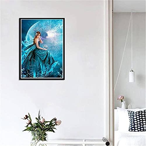 5D DIY Pintura Diamante Kits Hada de la luna Diamond Painting Taladro Completo Adultos Rhinestone Bordado de Punto de Cruz Artes Manualidades Pared Decoración del Hogar Sala de Estar 30x40cm