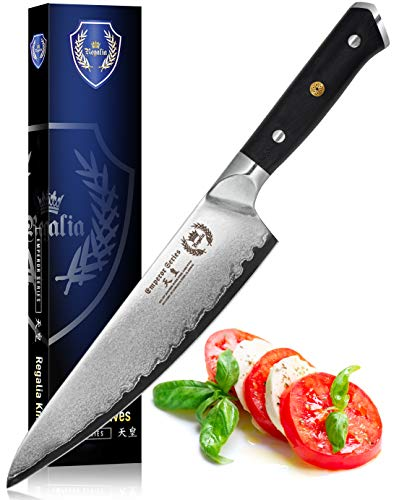 Chef Knife 8-Inch : Best Professional Quality Japanese Damascus Gyuto AUS10V Super Steel 67 Layer, Razor Sharp, Superb Edge Retention, Stain & Corrosion Resistant Chefs Knives By Regalia.