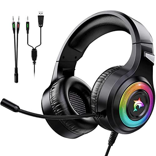 DOOK Cuffie Gaming PS4, Cuffie PS5 da Gioco con Cavo USB Audio Jack da 3,5 mm, Cuffie Over Ear con Microfono Luce RGB LED e Controllo Volume,Gaming Headset per PS4 Xbox One Switch PC (Nero)
