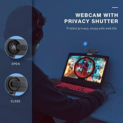 Jelly Comb 1080P HD Webcam mit Objektivdeckel, Streaming Webkamera mit Autofokus/Stereo Mikrofon für Computer, Skype, Video Chat und Aufnahme, Schwarz