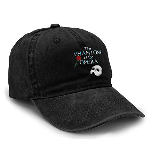 Mabb Unisex The Phantom of The Opera Logo Baseball Hats Adjustable Cotton Denim Dad Caps Black