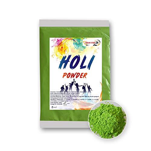 INDIAN STORE 24 Holi Gulal Pulver wasserlöslich Natural Festival Fotoshooting Rangoli Colors Regenbogen Powder holy farbbeutel Glitzer Farbpulver Fotos (Green ,Grün)