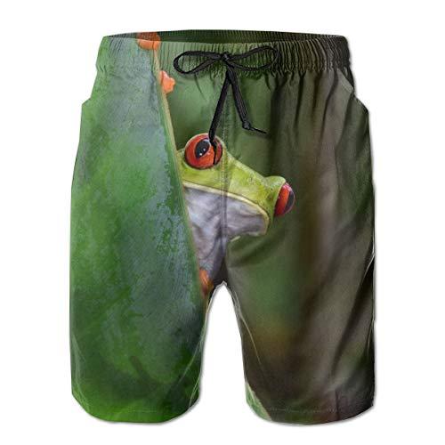 Zhengzho Rote Augen Laubfrosch Grüne Blätter im Regenwald Schnelltrocknendes Netzfutter Surfing Beach Shorts mit Taschen
