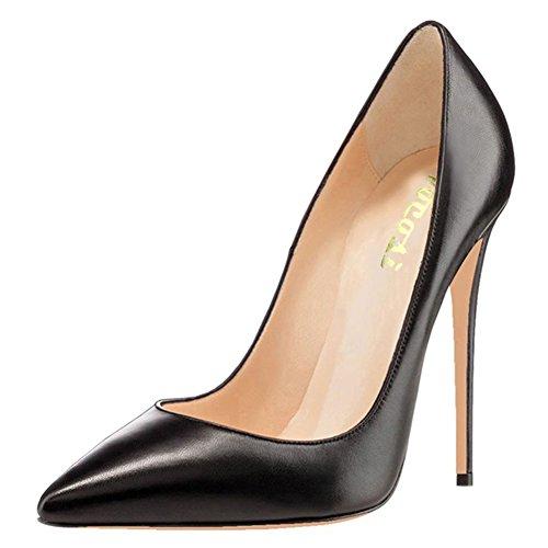 COLETER Högklackade för kvinnor, spetsig tå patent pumps skor för festklänning