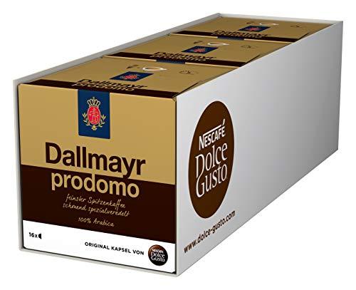 NESCAFÉ Dolce Gusto Dallmayr Prodomo | 48 Kaffeekapseln | Spitzenqualität für einen vollaromatischen Geschmack | 100{ab69f28c7105ea51128b5fa144496378ff9280ee0dc904da4a29c5c633d7d211} Arabica-Bohnen | Aromaversiegelte Kapseln | 3er Pack (3 x 16 Kapseln)