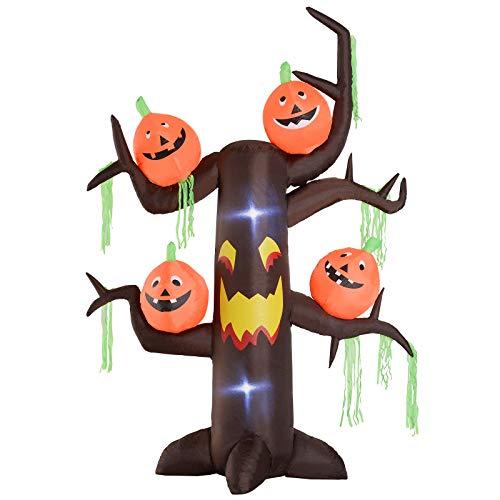 HOMCOM Gonfiabile per Hallowen a Forma di Albero Infestato con Zucche Lanterne a LED Alto, 2.4 metri