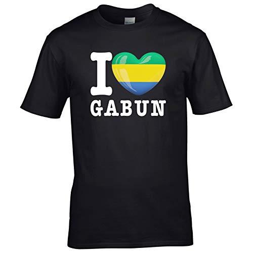 FanShirts4u Herren T-Shirt - I Love GABUN - WM Trikot Liebe Herz Heart (5XL, Schwarz - I Love GABUN)