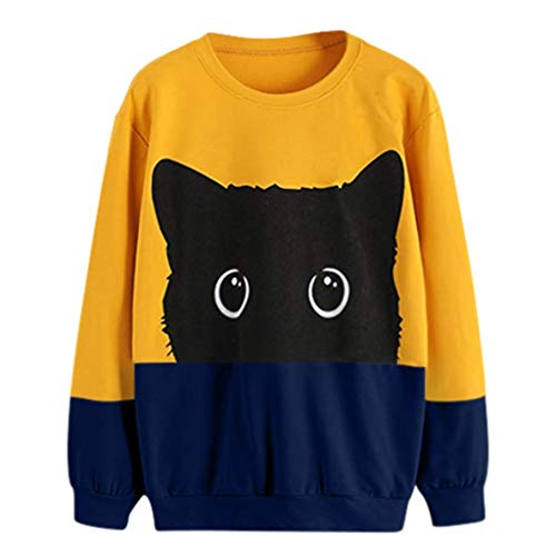 Cheapest Price! Amlaiworld Women Casual Cat Print Tops Long Sleeve Hoodie Sweatshirt Hooded Pullover...