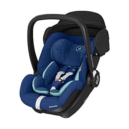 Maxi-Cosi Marble Babyschale, i-Size Baby-Autositz mit 157° Liegefunktion, Gruppe 0+ (40-85 cm / 0-13 kg) nutzbar ab der Geburt bis ca. 13 Monate, inkl. Marble Isofix Basisstation, essential blue