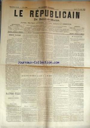 REPUBLICAIN DE SEINE ET MARNE (LE) [No 1247] du 17/04/1884 - LE MONUMENT GAMBETTA A CAHORS - .M BERAL SENATEUR DU LOT - LE GENERAL CAMPENON - ELECTIONS MUNICIPALES - LALIBERTE DE LA...