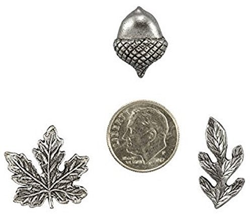 Fall Leaves and Acorn Metal Push Pins, Silver Finish, Solid Metal, 15 Pieces Photo #3