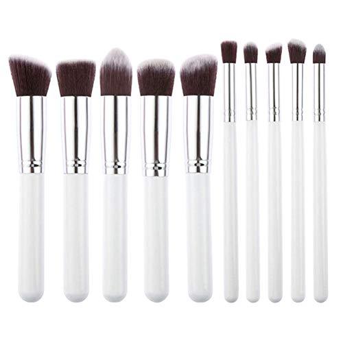 BEAUTYBIGBANG Lot de 10 pinceaux de maquillage synthétiques pour fond de teint, fond de teint, blush, eyeliner, poudre, visage (10 pièces, blanc argenté)