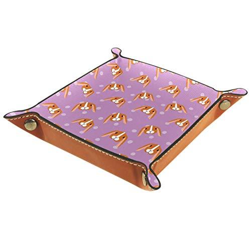 Bandeja de cuero para joyería Conejo marrón de dibujos animados Caja de almacenamiento Bandeja pequeña para collares Anillos y pendientes para mujer 16x16cm