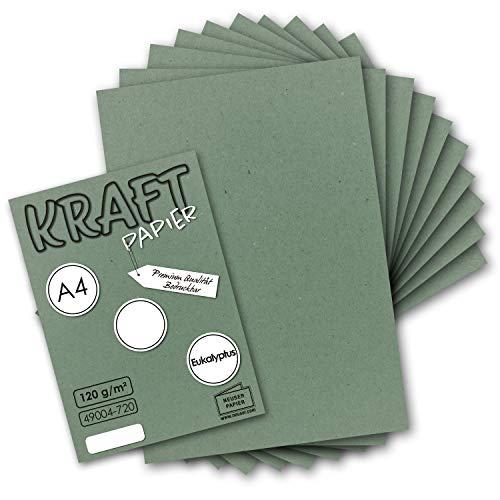 50 Blatt - Vintage Kraftpapier in Eukalyptus-Grün DIN A4 120 g/m² Grünes Recycling-Papier, 100% ökologisch Brief-Bogen - Briefpapier - UmWelt by GUSTAV NEUSER