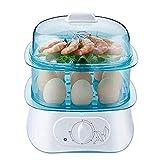 No-logo Cocina eléctrica de Huevo Caldera, Verduras al Vapor, rápidamente Hace Que los Huevos, Duro, Medio o hervido Suave, Bandeja Caza furtiva/Tortilla incluida, alista señal, sin BPA