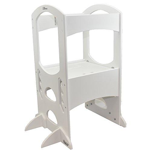 Little Partners Torre di apprendimento per bambini - Sgabello per bambini regolabile in altezza con supporto per cucina, struttura in legno, bancone Bianco morbido