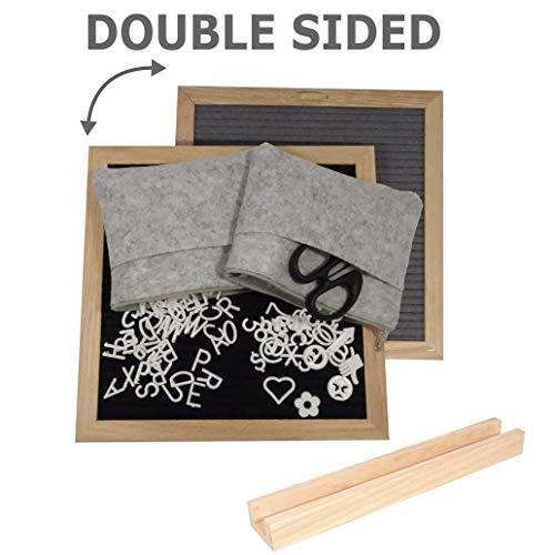 Doppelseitiger Filz Buchstabe Board 25,4x 25,4cm mit 680Kunststoff Buchstaben, Zahlen, emojis & Symbole | Eiche Rahmen | gratis enthalten: Schere, 2Filz Taschen und Ständer aus Eiche