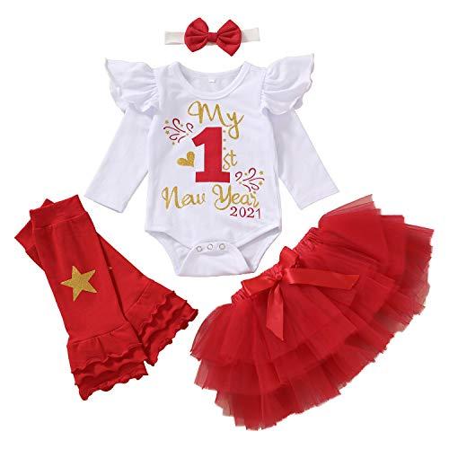 4Pcs My First New Year 2021 Outfits Christmas Ruffle Bodysuit+Tulle Tutu Dress+Ruffled Leg Warmers+Headband Skirt Set (Red, 0-3 Months)