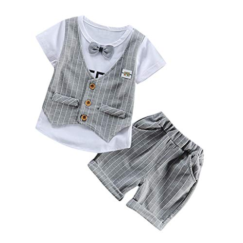 Julhold Kids Baby Jongens Streep Grid Mode Taillejas Strik Slim Katoen T Shirt Tops Broek 2 STKS Outfits Set 0-3 Jaar