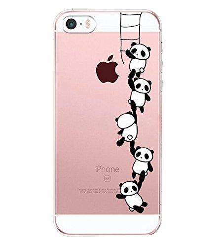 Alsoar Compatibile/Sostituzione per iPhone SE Custodia,iPhone 5 iPhone 5S Case,TPU Animal Baby Cover iPhone 5s / 5 / SE Popolari Orso Carino Case Anti-Scratch Gel Silicone Custodia (Panda Climbing)