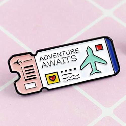 Vliegtuigkaart van metaal latte Moda Carino slot, geëmailleerd, pin voor insteeknaalden voor dames