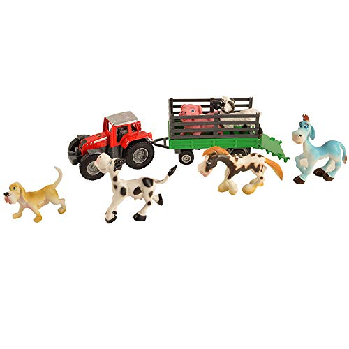 BOHS Metal Transporter Tractor Trailer with Livestock Set - Farmer Truck Toys Diecast Model Playset, with 6 Farm Animals, Tractor: 9.6 Inch