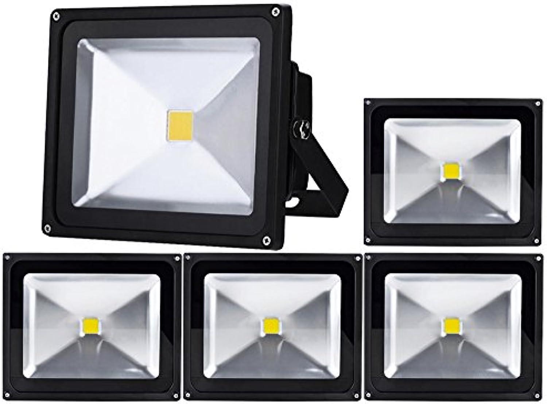5pcs 50W LED Fluter,ALPHA DIMA IP65 Wasserdicht Schwarz Kaltwei 120° LED Auenstrahler Fluter Flutlicht AC 85-265V Tageslichtwei